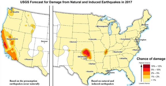 usa earthquake map